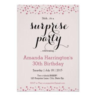 Convite de festas cor-de-rosa da surpresa do