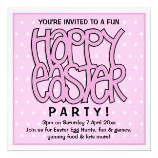 Convite de festas cor-de-rosa do felz pascoa
