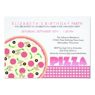 Convite de festas cor-de-rosa e roxo da pizza
