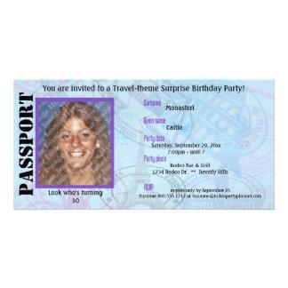 Convite de festas customizável do passaporte cartão com foto