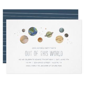 Convite de festas da aguarela do sistema solar