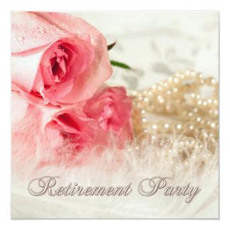 Convite de festas da aposentadoria com rosas e