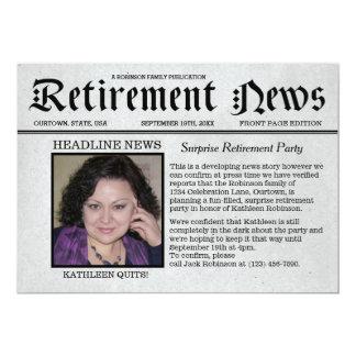 Convite de festas da aposentadoria do jornal de