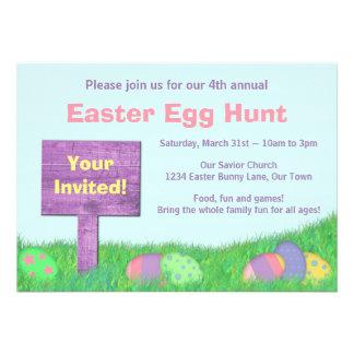 Convite de festas da caça do ovo da páscoa dos ovo