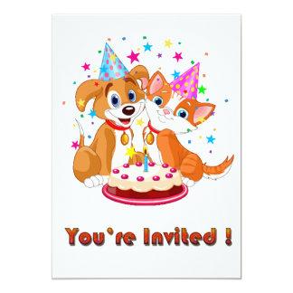 Convite de festas da celebração do cão e gato