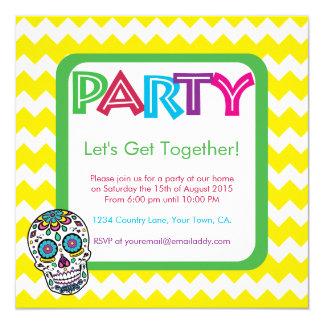 Convite de festas da cor do crânio do açúcar