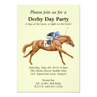 Convite de festas da corrida de cavalos convite 12.7 x 17.78cm