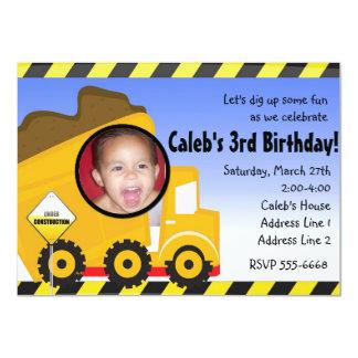 Convite de festas da foto da construção do camião convite 11.30 x 15.87cm