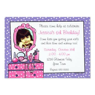 Convite de festas da foto do aniversário da menina