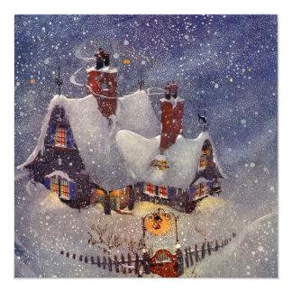 Convite de festas da neve do inverno do natal