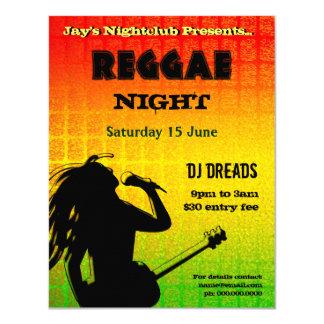 Convite de festas da noite da reggae