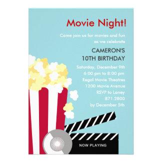 Convite de festas da noite de cinema