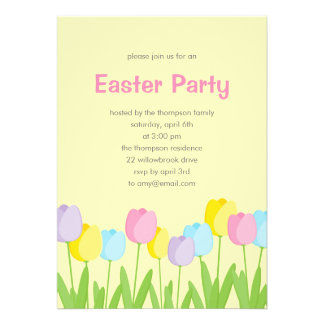 Convite de festas da páscoa das tulipas do primave