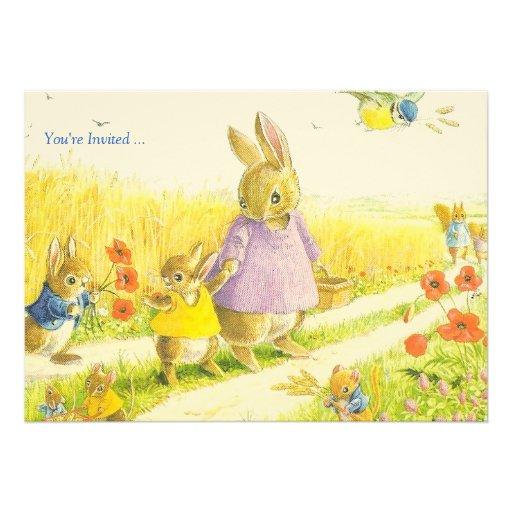Convite de festas da páscoa dos coelhos