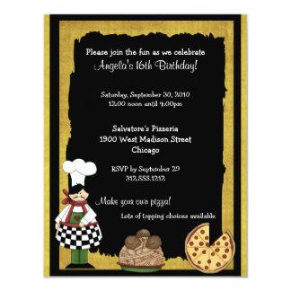 Convite de festas da pizza do doce 16