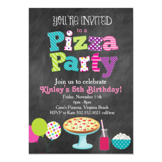 Convite de festas da pizza do quadro (menina)