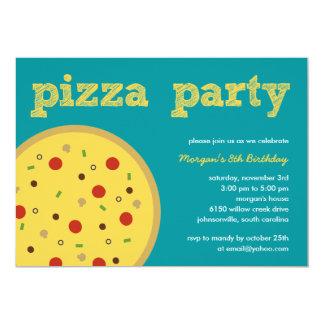 Convite de festas da pizza (turquesa)