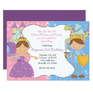 Convite de festas da princesa & do príncipe