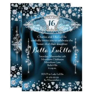 Convite de festas da princesa Doce 16 Bling