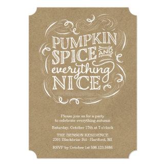 Cartão Convite de festas da queda do outono da especiaria