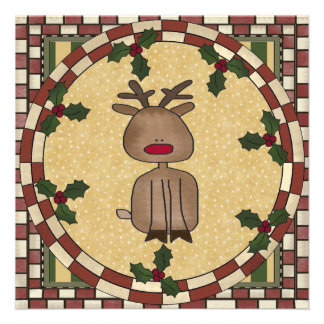 Convite de festas da rena do Natal