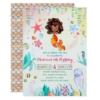 Convite de festas da sereia do afro-americano