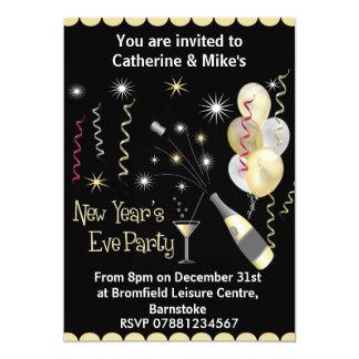 Convite de festas da véspera de ano novo - preto &