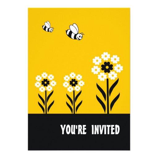 Convite de festas das flores brancas Cartão-Amarel