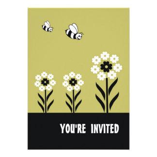 Convite de festas das flores brancas Cartão-Verde