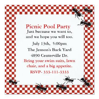 Convite de festas das formigas do piquenique