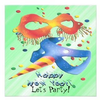 Convite de festas das máscaras de ano novo