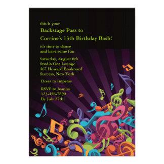 Convite de festas das notas musicais