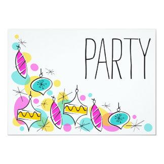 Convite de festas de canto dos Baubles retros da