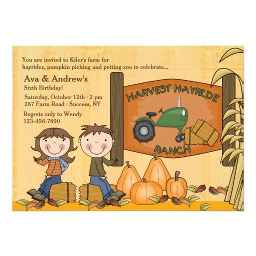 Convite de festas de Hayride da colheita