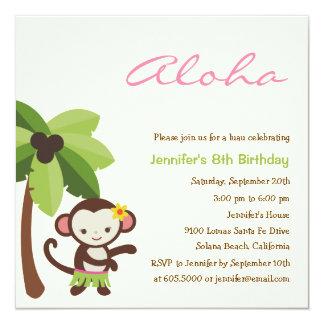 Convite de festas de Luau do macaco de Hula