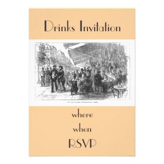 Convite de festas de Montmartre Paris do café do v