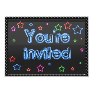 Convite de festas de néon