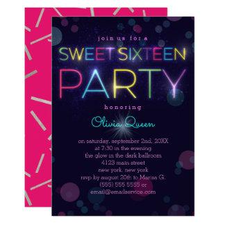 Convite de festas de néon de incandescência do