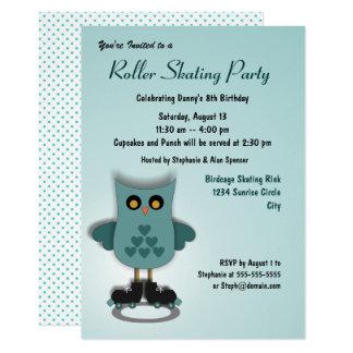 Convite de festas de patinagem da coruja da