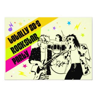convite de festas de Rockstar do anos 80