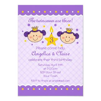 Convite de festas de Twincess do aniversário de 3