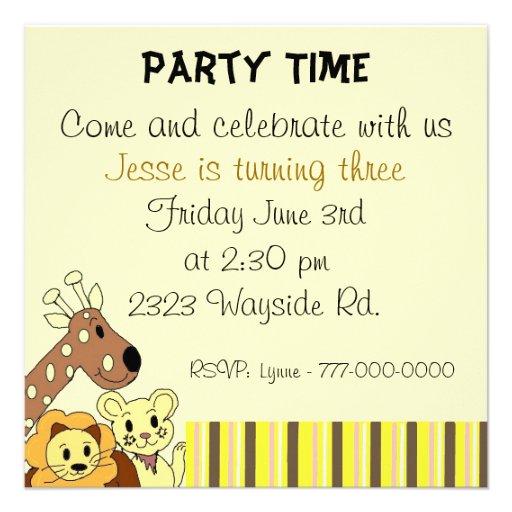 festas aniversario jardim zoologico maia:Zoo Animal Party Invitation