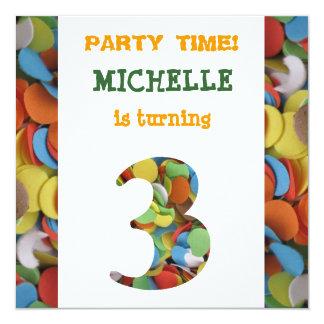 Convite de festas do aniversário de 3 anos dos