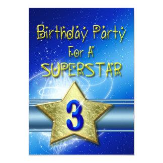 Convite de festas do aniversário de 3 anos para um