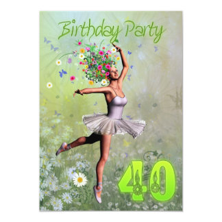 Convite de festas do aniversário de 40 anos