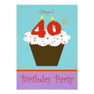 Convite de festas do aniversário de 40 anos -- 40