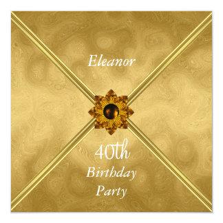 Convite de festas do aniversário de 40 anos das convite quadrado 13.35 x 13.35cm