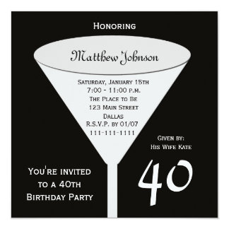 Convite de festas do aniversário de 40 anos um