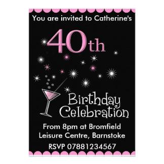 Convite de festas do aniversário de 40 anos - vidr