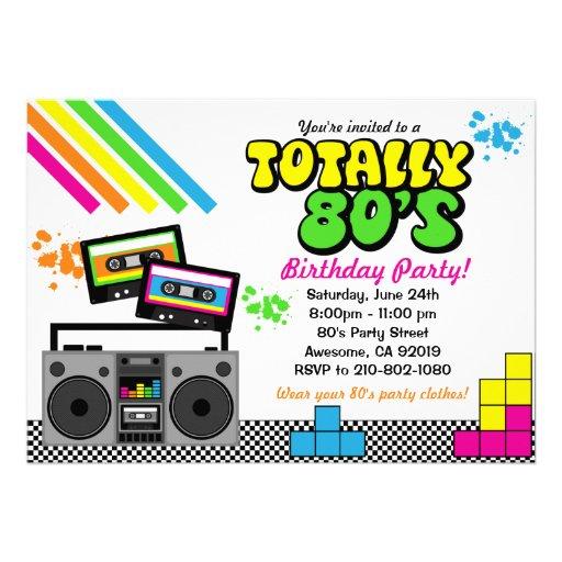 convite de festas do anos 80